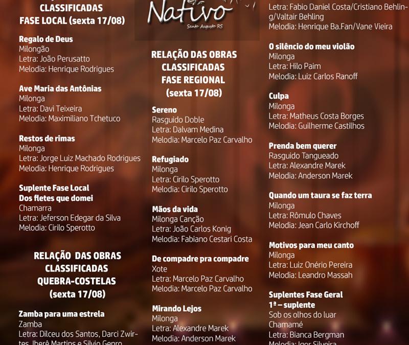 A Comissão organizadora tem o prazer de divulgar as obras classificadas para a 11ª edição do Canto Nativo