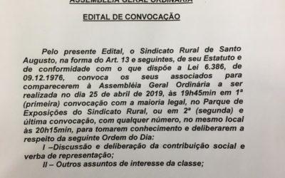 ASSEMBLEIA GERAL ORDINÁRIA – EDITAL DE CONVOCAÇÃO
